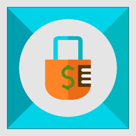 secret codes: Icon of padlock with dollar sign