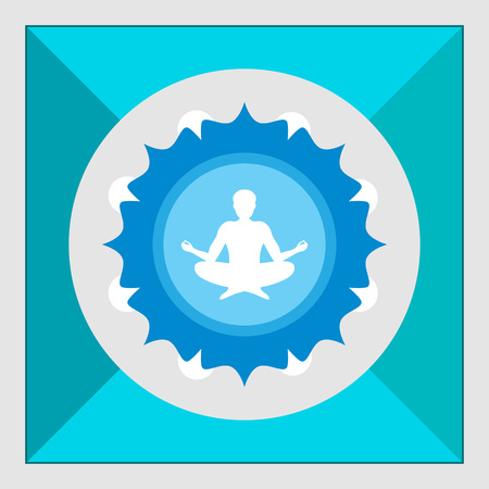lotus petal: Icon of meditating mans silhouette sitting in lotus pose on background with floral elements