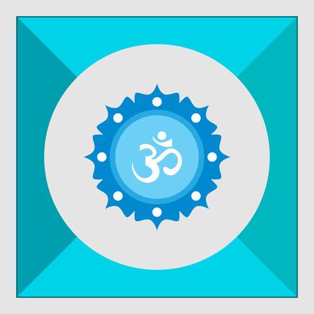 sanskrit: Icon of om sign on background with floral elements Illustration