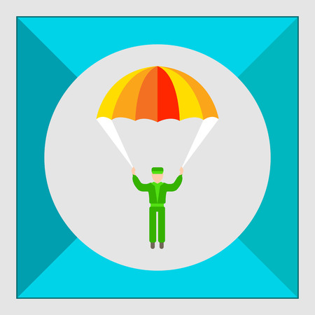 skydiver: Icon of mans silhouette with parachute Illustration