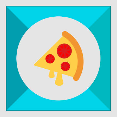 tomato slice: Icon of pizza slice with cheese and tomato