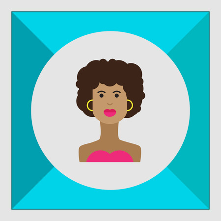 afro hairdo: Female character icon, portrait of young African American  woman