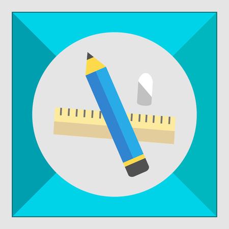 eraser: Icon of pencil, eraser, ruler Illustration