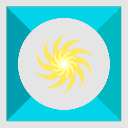beams: Icon of sun with swirl beams