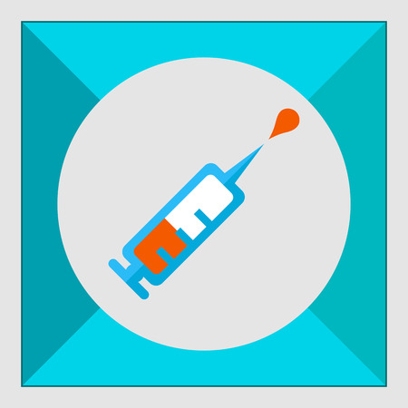 vaccin: Icon of syringe with vaccine droplet