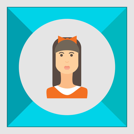 fringe: Female character icon, portrait of teenage girl with long hair, fringe and bow on head Illustration