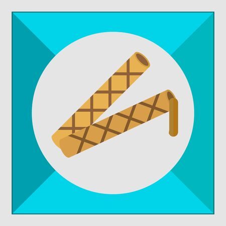 waffle: Icon of waffle tubes with flowing out chocolate filling Illustration
