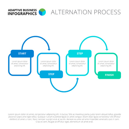 connection block: Editable infographic template of alternation process chart, blue and green version