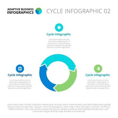 diagrama: infografía plantilla editable del diagrama del ciclo, azul y verde versión