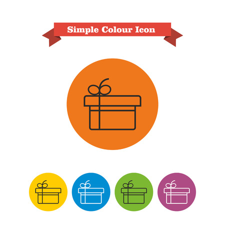 festive occasions: Icon of gift box with ribbon and bow Illustration
