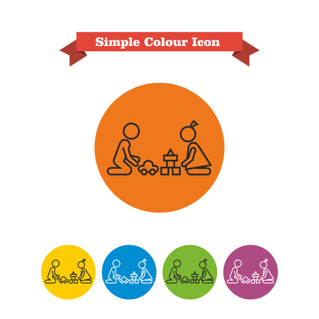 playroom: Icon of boy and girl silhouettes playing with toys