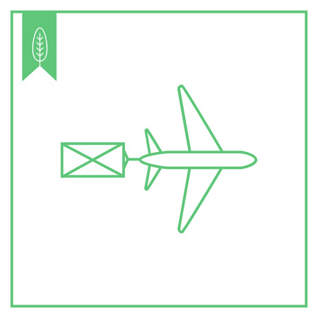 addressee: Icon of flying airplane carring letter Illustration