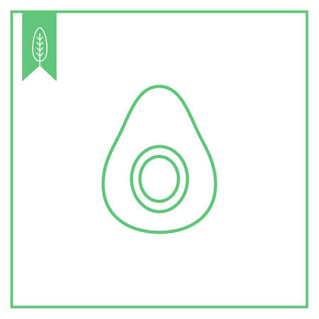 half: Icon of avocado half Illustration