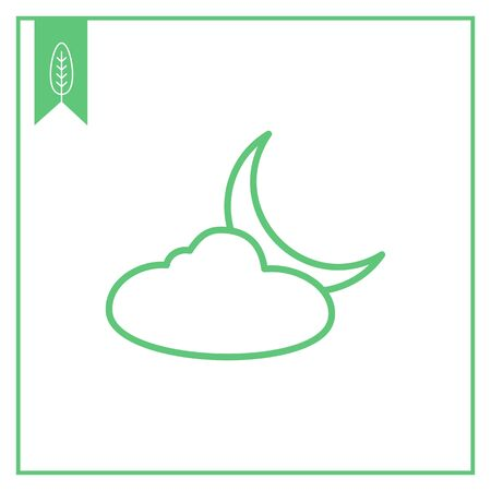 precipitation: Icon of cloud and crescent moon