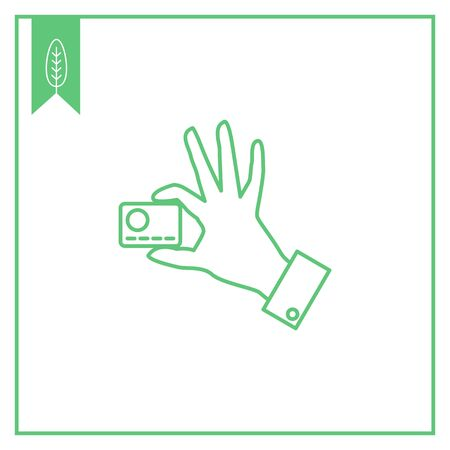 holding credit card: Icon of man hand holding credit card with two fingers