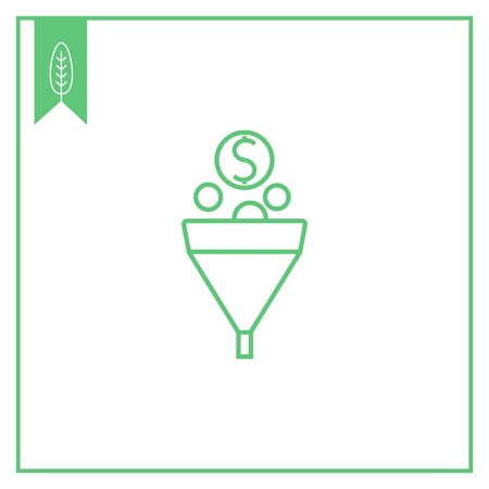 funnel: Icon of funnel with coins falling into it Illustration