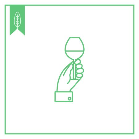 man holding transparent: Icon of man hand holding glass with drink