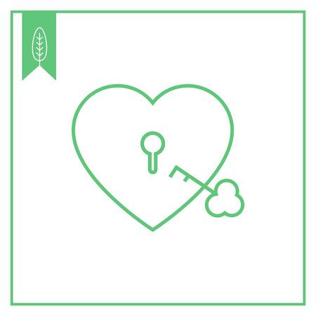shackle: Icon of heart-shaped padlock with key Illustration