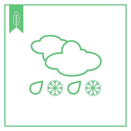 predicting: Icon of clouds with falling snowflakes and raindrops