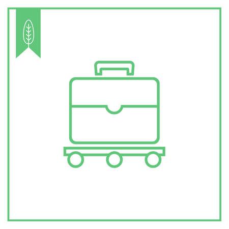 ruchome: Icon of suitcase moving on luggage carousel Ilustracja