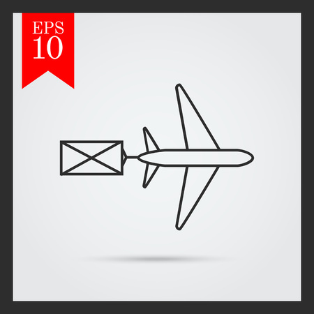 sender: Icon of flying airplane carring letter Illustration