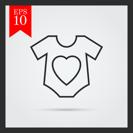 onesie: Icon of baby onesie with heart print