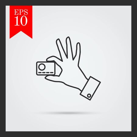 man holding card: Icon of man hand holding credit card with two fingers