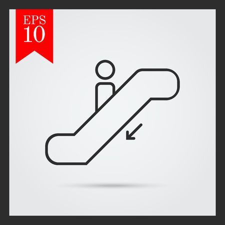 moving down: Icon of man's silhouette moving down on escalator Illustration