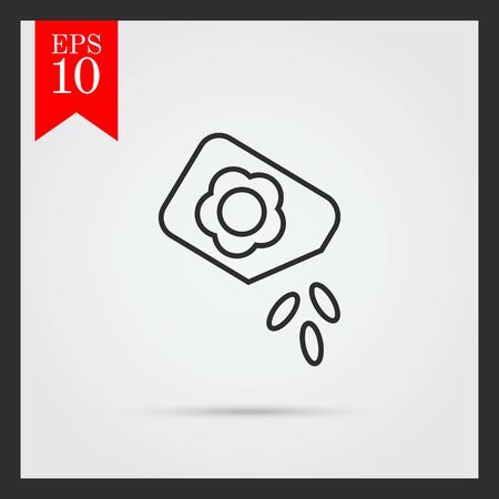 falling out: Icon of flower seed packet with few seeds falling out Illustration