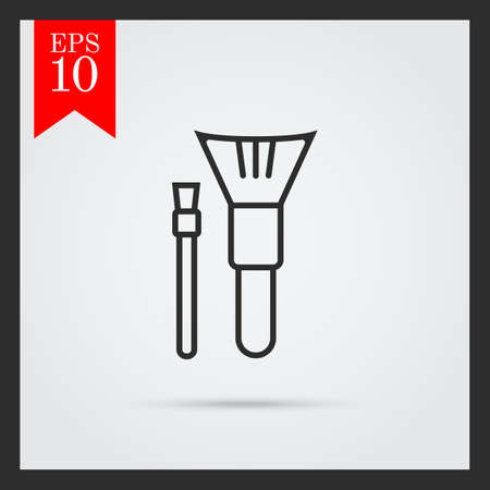 makeup brushes: Icon of two make-up brushes