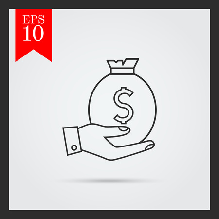 man holding money: Icon of man hand holding money bag with dollar sign Illustration