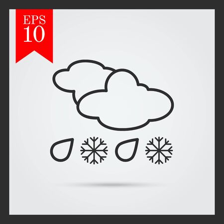 humidity: Icon of clouds with falling snowflakes and raindrops