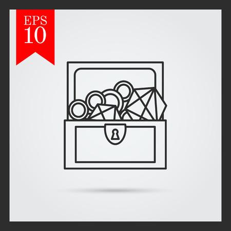 carte trésor: Icône de l'open coffre au trésor avec diamants et d'or Illustration