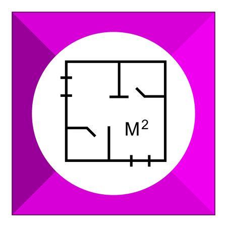 designation: Icon of apartment plan with square meter designation