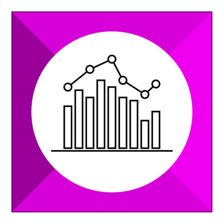 uptrend: Icon of bar chart with line graph Illustration