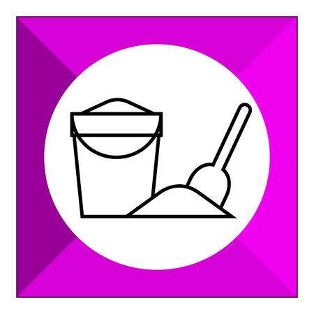 bucket and spade: Icon of bucket with sand and spade