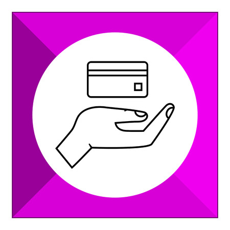 holding credit card: Icon of human palm holding credit card