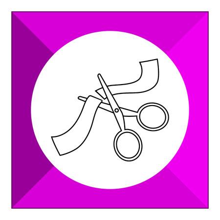 scissors cutting: Icon of scissors cutting ribbon