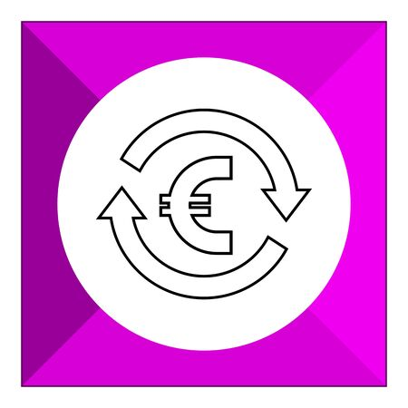 sign in: Icon of euro sign in circle made of arrows Illustration