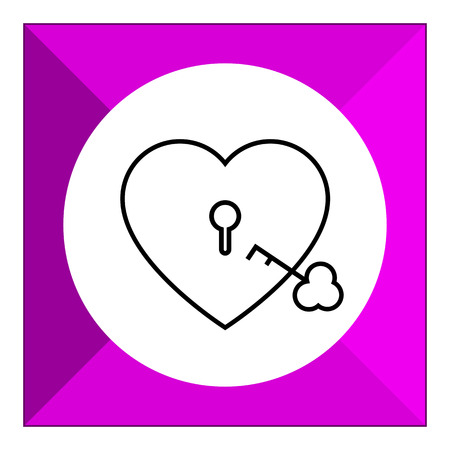 shackle: Icon of heart-shaped padlock with key Illustration