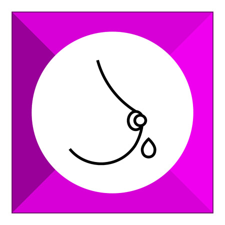 milk drop: Icon of woman breast with maternal milk drop