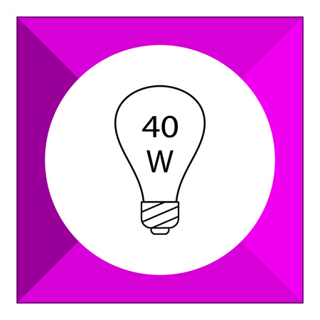 turned: Line icon of lightbulb with 40W power sign inside