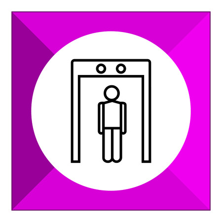 metal detector: Icon of man's silhouette going through metal detector gate Illustration