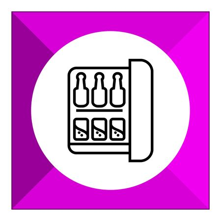 minibar: Icon of minibar with bottles and cans Illustration