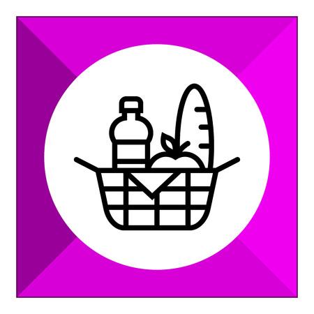 bread basket: Icono de la cesta de picnic Vectores