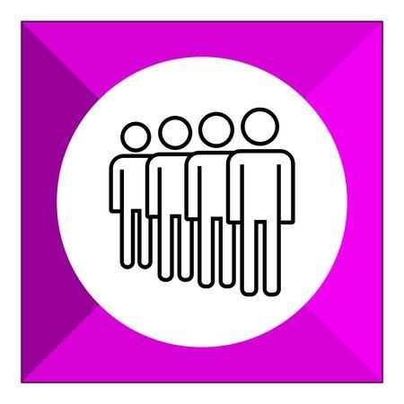 fila de espera: Icono de siluetas de personas de pie en la cola Vectores