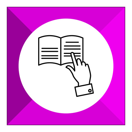 tracing: Icon of man's hand tracing text with finger while reading Illustration