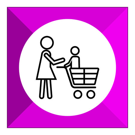 woman shopping cart: Icon of woman silhouette carrying child in shopping cart
