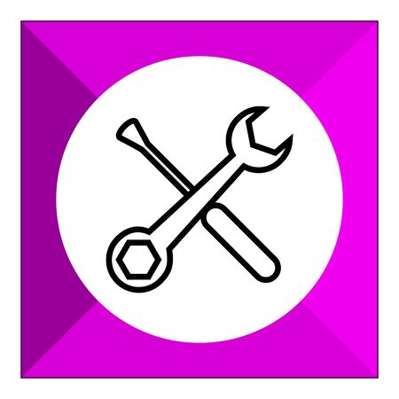 mend: Icon of crossed spanner and screwdriver