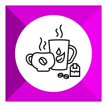 teabag: Icon of tea and coffee cups, teabag and coffee beans